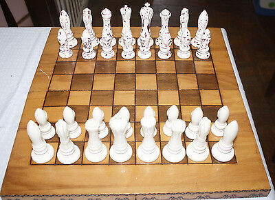 Unusual Porcelain Chess Set With Board / Storage