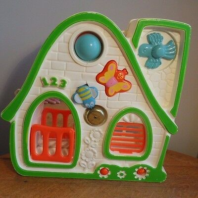 Vintage Activity House Baby Infant Crib Hanging Toy Busy Box Mattel 1978