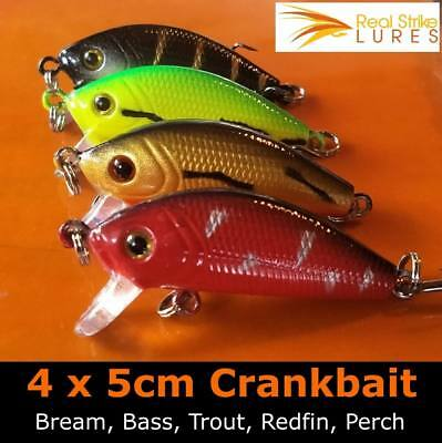 4pcs 5cm fishing lures Bream Bass Trout Redfin Perch Cod Flathead Whiting