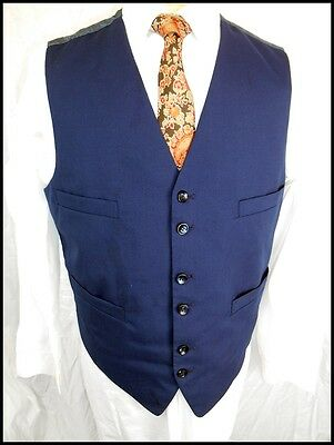 Vintage 60s 70's Navy Blue Waistcoat Paisley Back Formal Mod Steampunk 38 Chest