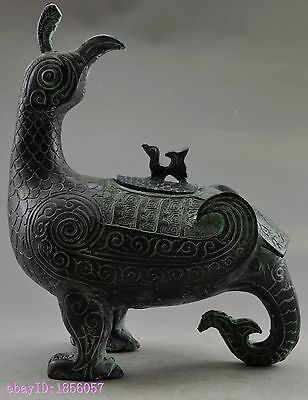 Collectible Decorated Old Handwork Bronze Carved Phoenix Pot & Statue