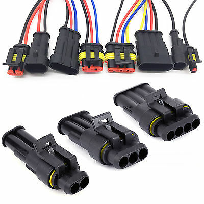 10 Set Car Superseal Waterproof Electrical Terminal Wire Connector 2/3/4 Way Pin