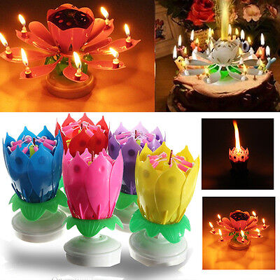 Party Cake Topper Musical Lotus Flower Double-deck Birthday Candle Decoration