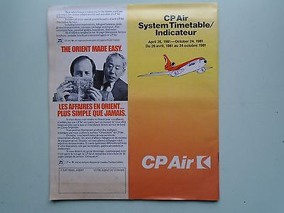 Vintage Aviation 1981 CP Air Timetable.