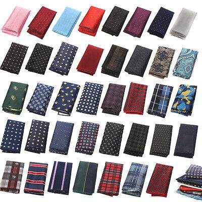 Men Pocket Square Hankerchief Korean Silk Paisley Dot Floral Hanky Wedding Party