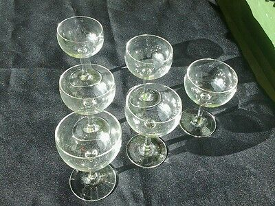 20s / 30s 6 x VINTAGE HAND BLOWN ABSINTHE COCKTAIL GLASSES SAUCERS