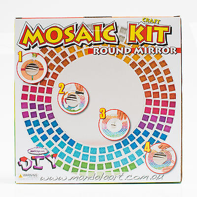 Mandala Art MOSAIC ROUND MIRROR CRAFT KIT For Adults & Older Children*Aust Brand