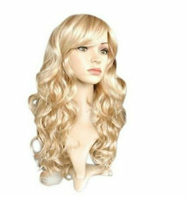 Uk Women Ladies Long Wavy Blonde Curly Fancy Dress Cosplay Wig Pop Party Costume