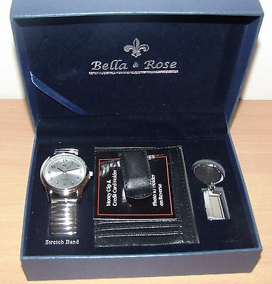 Mens Silver Watch, Money Clip And Keyring Gift Pack Bella Rose New In Gift Box