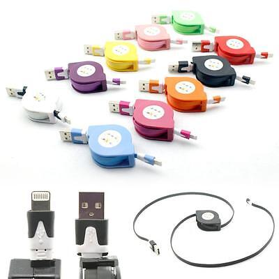 100 x For iPhone 5 5S 6 7 Plus 8 Pin Retractable USB Cable Charge Wholesale