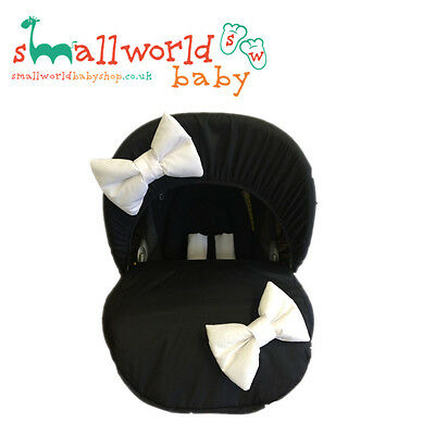 Personalised Black Baby Car Seat Cover With White Bows