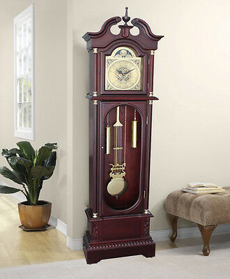Grandfather Floor Clock Blue Moon Roman Wooden Long Case Tall Antique Oak Home