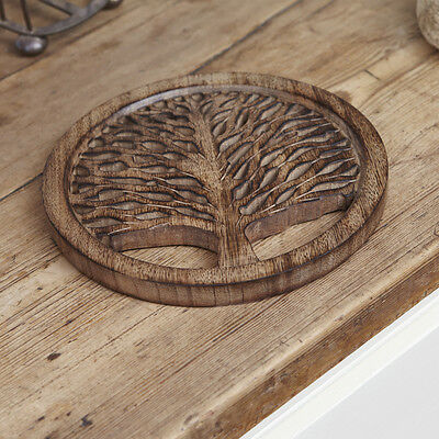 NEW - MANGO WOOD TREE OF LIFE TRIVET STAND PLATE - 20cm DIAMETER HAND CARVED