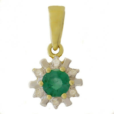 Emerald Diamond Pendant. Natural Emerald + 6 Genuine Diamonds. Solid 9K 375 Gold