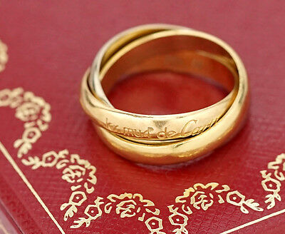 Cartier Trinity 3 Band Ring size US 6 18k Yellow Gold 750 w/BOX #320