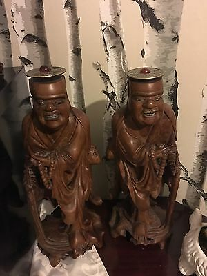 Antique Chinese Oriental 19th Century Carved Old Wood Figurine Pair With Teeth