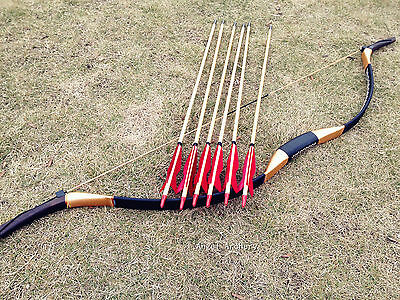 Archery Handmade bow Traditional Longbow recurve Bow 20lb-60lb +6 wooden arrows