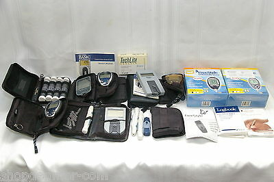 Blood Glucose Test Monitors Lot Of 8 With Cases Plus Lancets, Logbooks & More