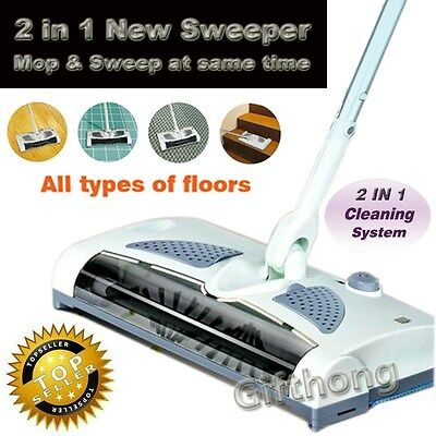 Cordless Rechargeable Sweeper Floor Carpet Rug Slim Lightweight Power Broom 220V