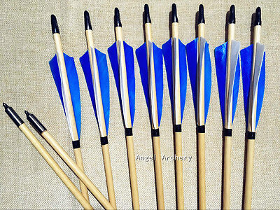 New 12PK handmade cedar wooden arrows with helical feathers for longbow hunting