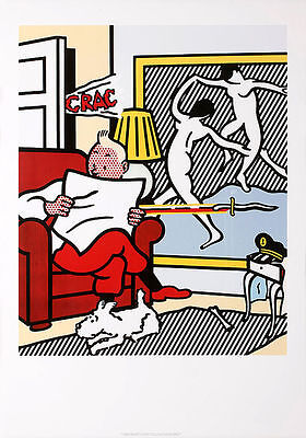 "Roy Lichtenstein ""Tintin Reading"" pop Art Silk Poster Room Decor 24x36inch"