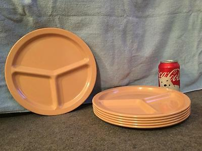 """6 Vintage Pink Texas Ware 10"""" Dinner Grille Plates 3 Sections Melamine Melmac"""