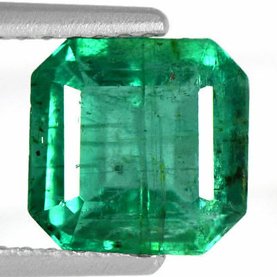 1.60 Cts Natural Top Green Emerald Octagon Cut Zambia Untreated 7 mm Loose Gem $
