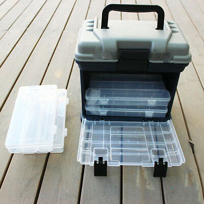 Portable Outdoor 5 Layer Fishing Tackle Tool Box Case with Handle Plastic