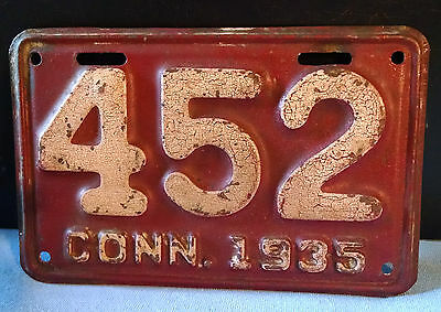 1935 Connecticut ( Motorcycle )  License Plate * 3 Digit  *  All Original
