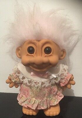 """Vintage Large 6.5"""" RUSS RARE WHITE HAIR TROLL DOLL GRANDMOTHER FAST FREE POST"""