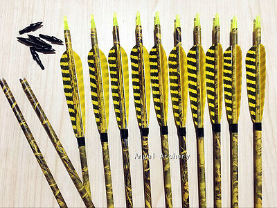 12Pcs camouflage stripe Carbon Arrows For recurve&compound bow longbow hunting