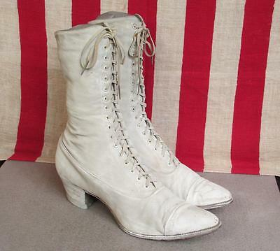 """Vintage Antique Womens White Lace Up Wedding Boots Tall Victorian 10"""" Length"""