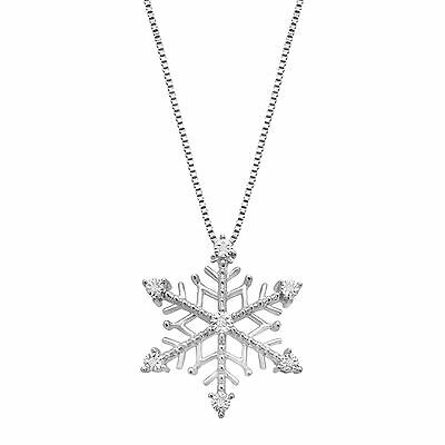 Snowflake Pendant with Diamonds in Sterling Silver with 14K Rose Gold Heart