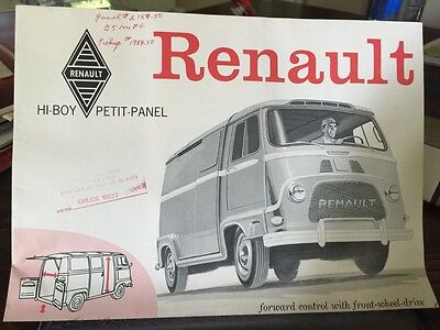 "Vintage 60's RENAULT ""Hi-Boy"" Petit Panel Van DEALERS BROCHURE booklet"