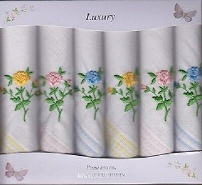 6Pk Ladies Floral Embroidered Handkerchiefs