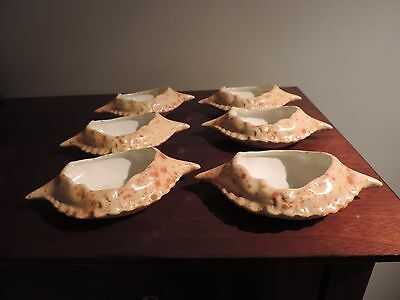 lot 6 pottery crab cake shell dishes signed RF beach cottage decor