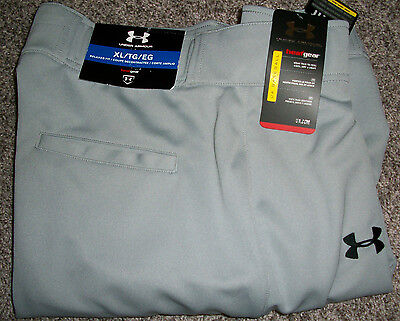 Mens UNDER ARMOUR Heat Gear Relaxed Fit Solid Gray Baseball Pants NWT XLx33 $60