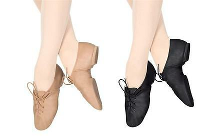 Jazz Shoes Tie Up Black Tan Class Practice MANY KIDS Sizes 12-1.5 Youth LOTS