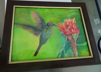original oil pastel humming bird