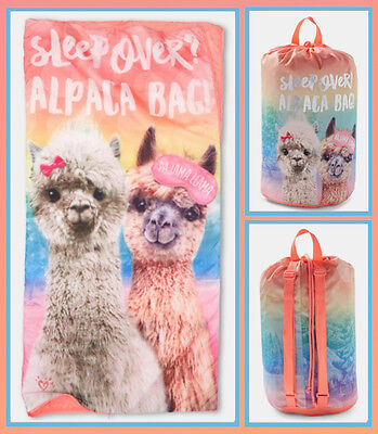 NWT JUSTICE Coral Rainbow Llama Sleeping Bag w/ Nylon Carrying Bag - SOLD OUT!!