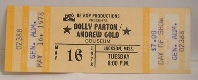 Dolly Parton / Andrew Gold - Vintage 1978 Unused Whole Concert Ticket