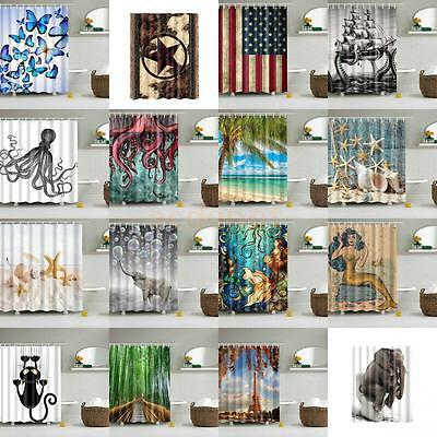 Waterproof Polyester Fabric Various Pattern & 12 Hooks Bathroom Shower Curtain