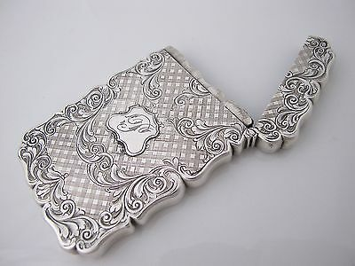Beautiful Victorian silver ladies card case Cronin & Wheeler Birmingham 1847