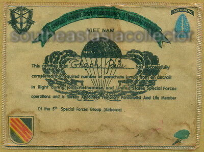 Vietnam US Military Parachute Certificate of 5th Special Forces Group. Original