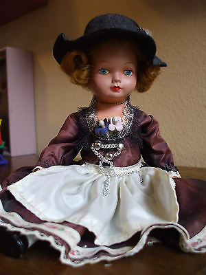 Vintage German Doll Black Drindl Dress Hat With Feather Celluloid Plastic 9""