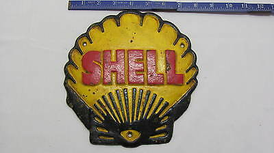 Cast Iron Vintage Style Shell Shaped Shell Logo Plaque Reproduction