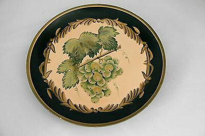 Decorative 10 inch Plate Grape Vines and Grapes - Gold and Black