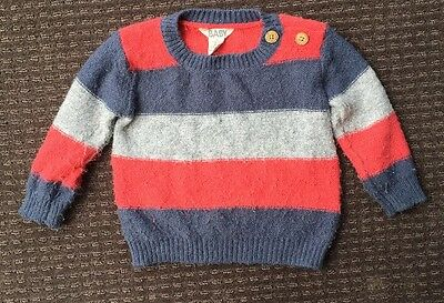 Cotton On Baby Boys Knit Jumper Blue Grey Red Stripes Size 1, 12-18 Months