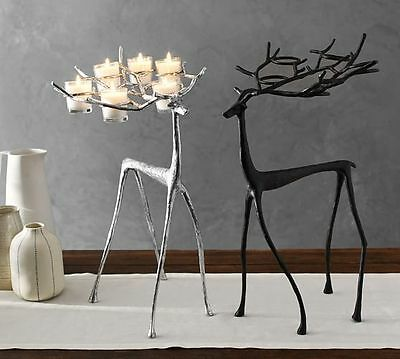 "NEW Pottery Barn Sculpted Reindeer Votive Candle Holder Silver Decor 22"" Tall"