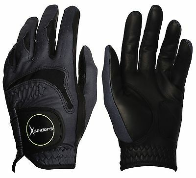 NEW Brand XSpiderCOMBI-BLACK Men's Golf Gloves Cabretta & Microfiber Durable #UK